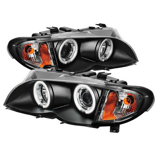 2002-2005 BMW E46 3-Series Black Housing CCFL Halo Angel Eyes 1PC Projector Headlights
