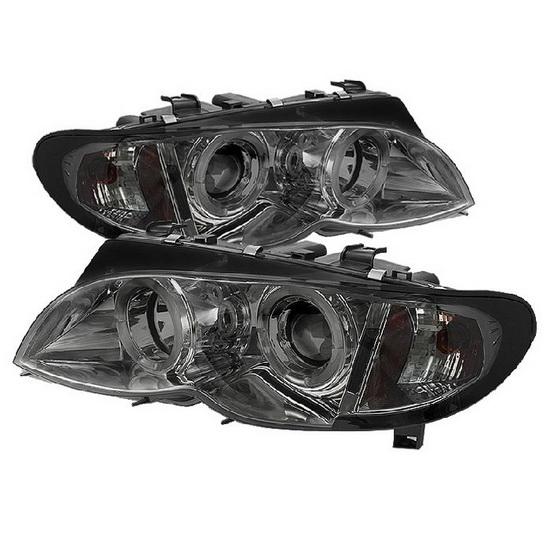 2002-2005 BMW E46 3-Series Smoke Housing LED Halo Angel Eyes 1PC Projector Headlights