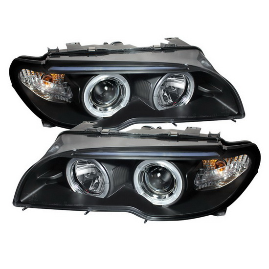2004-2006 BMW E46 3 Series Black Housing LED Halo Angel Eyes Projector Headlight