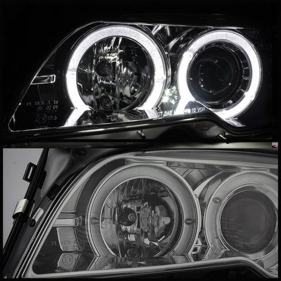 2004-2006 BMW E46 3 Series Smoke Housing LED Halo Angel Eyes Projector Headlight