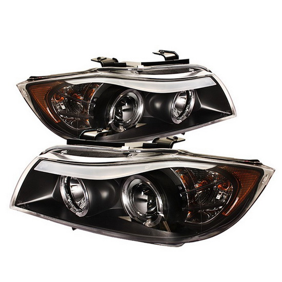 2006-2008 BMW E90 3-Series Black Housing LED Halo Angel Eyes Replaceable Eyebrow Bulb Projector Headlights with Amber Reflector