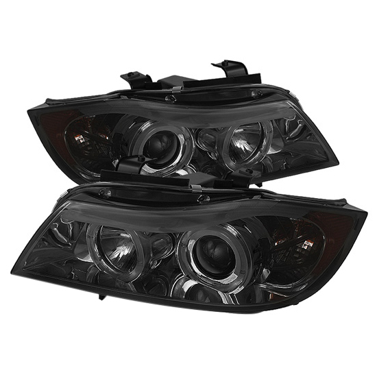 2006-2008 BMW E90 3-Series Sedan LED Halo Angel Eyes Amber Reflector Smoke Housing Projector Headlights