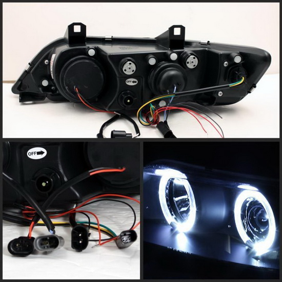 1996-2002 BMW Z3 Black Housing LED Halo Angel Eyes Projector Headlights