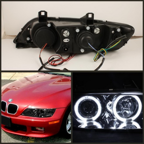 96 02 Bmw Z3 Smoke Led Halo Ring Angel Eyes Projector Headlights