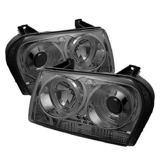 2009-2010 Chrysler 300 Smoke Housing LED Halo Angel Eyes LED Projector Headlights