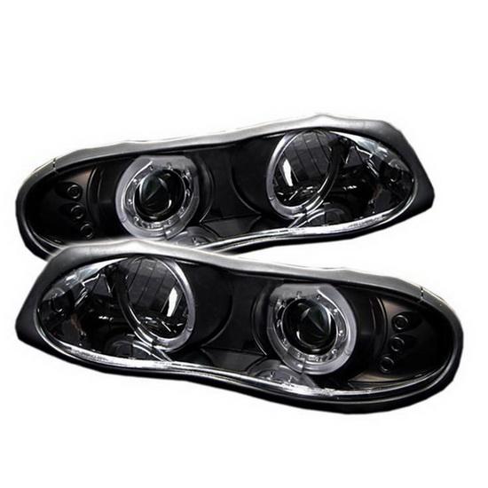 1998-2002 Chevrolet Camaro Black Housing LED Halo Angel Eyes LED Projector Headlights