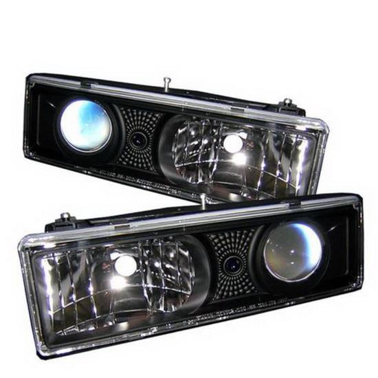 1988-1999 Chevrolet C K Series 1500 2500 3500 Tahoe Black Housing Projector Headlights