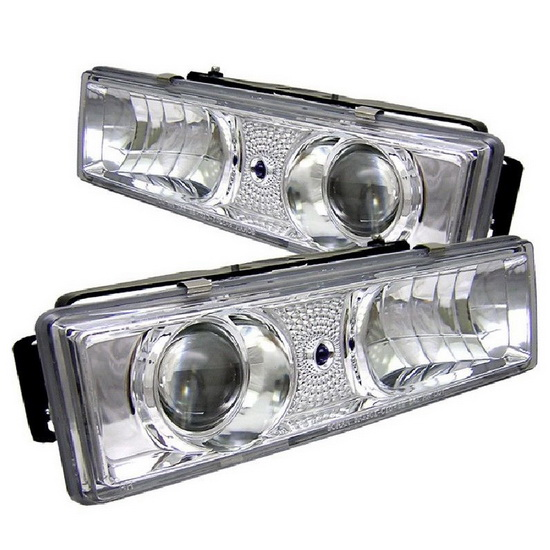 1988-1999 Chevrolet C K Series 1500 2500 3500 Tahoe Chrome Housing Projector Headlights