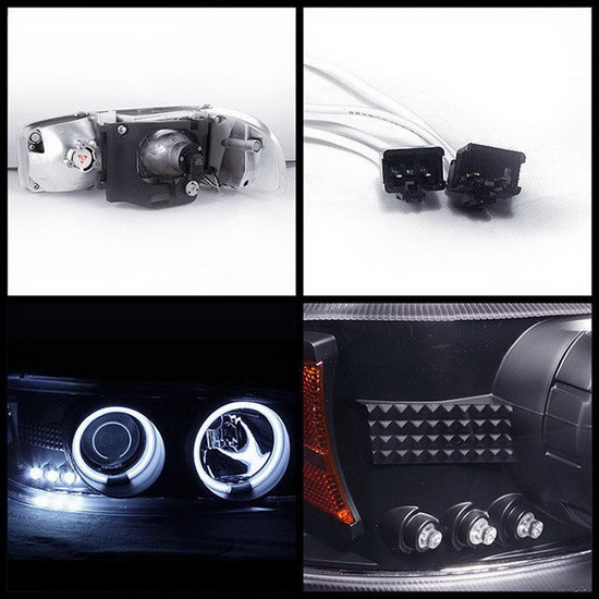 1999-2006 GMC Sierra 1500 2500 3500 Denali Yukon Black Housing CCFL Halo Angel Eyes LED Projector Headlights