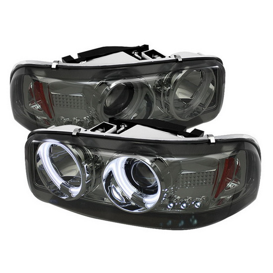 1999-2006 GMC Sierra 1500 2500 3500 Denali Yukon Smoke Housing CCFL Halo Angel Eyes LED Projector Headlights