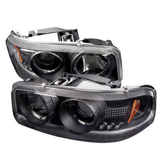 1999-2006 GMC Sierra 1500 2500 3500 Denali Yukon Black Housing LED Halo Angel Eyes LED Projector Headlights