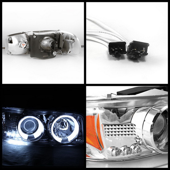 1999-2006 GMC Sierra 1500 2500 3500 Denali Yukon Chrome Housing LED Halo Angel Eyes LED Projector Headlights