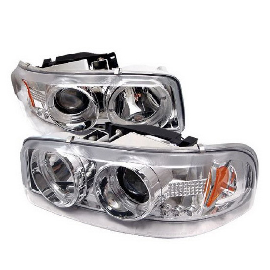 99 06 Gmc Sierra 1500 Chrome Led Halo Led Projector Headlights