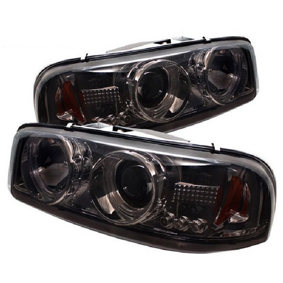 1999-2006 GMC Sierra 1500 2500 3500 Denali Yukon Smoke Housing LED Halo Angel Eyes LED Projector Headlights