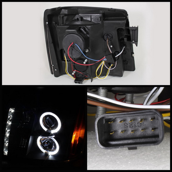2002-2006 Cadillac Escalade Black Housing LED Halo Angel Eyes Projector Headlights with LED DRL
