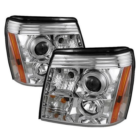 2002-2006 Cadillac Escalade Chrome Housing LED Halo Angel Eyes Projector Headlights with LED DRL
