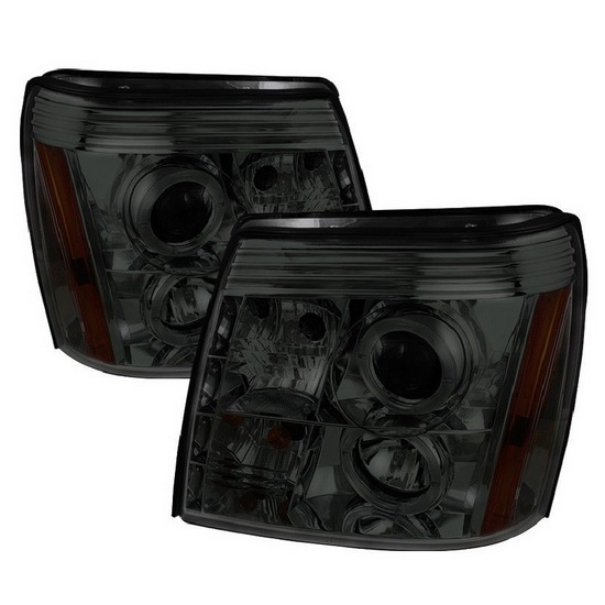 2002-2006 Cadillac Escalade Smoke Housing LED Halo Angel Eyes Projector Headlights with LED DRL