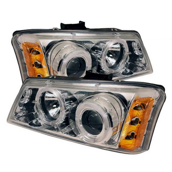 2003-2006 Chevrolet Silverado 1500 2500 3500 1500HD 2500HD Avalanche Chrome Housing LED Halo Angel Eyes LED Projector Headlights with Amber Reflector