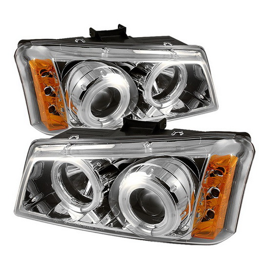 2003-2006 Chevrolet Silverado 1500 2500 3500 1500HD 2500HD Avalanche Chrome Housing CCFL Halo Angel Eyes LED Projector Headlights