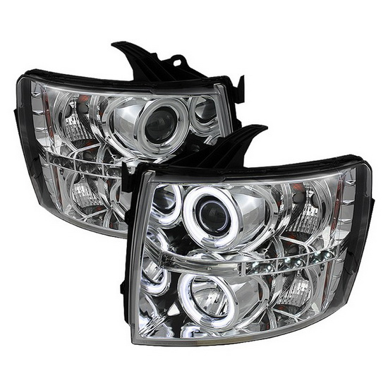 2007-2014 Chevrolet Silverado 1500 2500 3500 Chrome Housing CCFL Halo Angel Eyes LED Projector Headlights