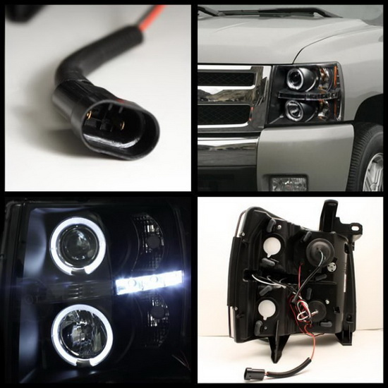 2007-2014 Chevrolet Silverado 1500 2500 3500 Black Housing LED Halo Angel Eyes LED Projector Headlights