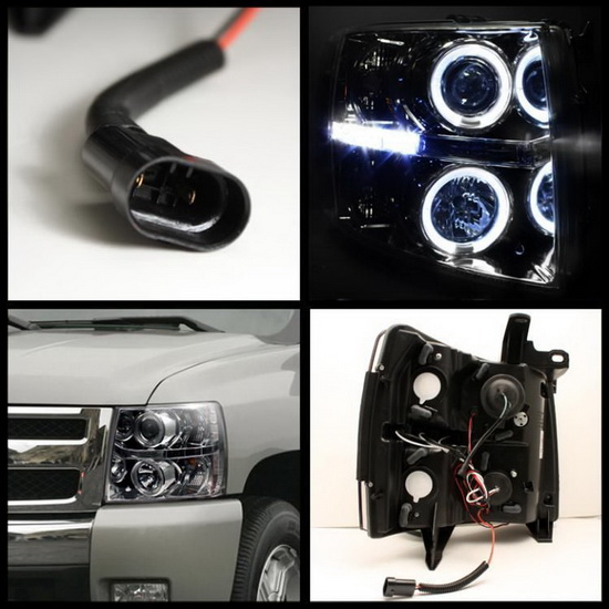 2007-2014 Chevrolet Silverado 1500 2500 3500 Chrome Housing LED Halo Angel Eyes LED Projector Headlights