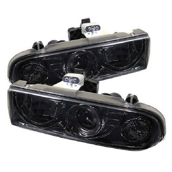 1998-2004 Chevrolet S10 Blazer Smoke Housing LED Halo Angel Eyes Projector Headlights