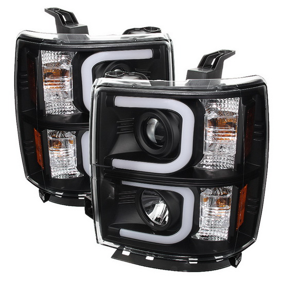 2014-2015 Chevy Silverado 1500 2500 3500 LED Halo Angel Eyes Black Housing Projector Headlights