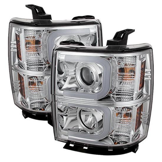 2014-2015 Chevy Silverado 1500 2500 3500 LED Halo Angel Eyes Chrome Housing Projector Headlights