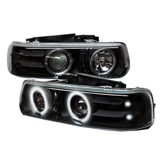 1999-2002 Chevrolet Silverado 1500 2500 3500 Suburban 1500 2500 Tahoe Black Housing CCFL Halo Angel Eyes LED Projector Headlights