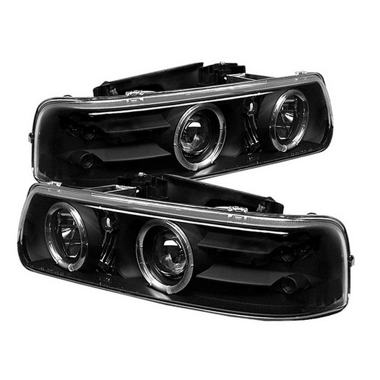 1999-2002 Chevrolet Silverado 1500 2500 3500 Suburban 1500 2500 Tahoe Black Housing LED Halo Angel Eyes LED Projector Headlights