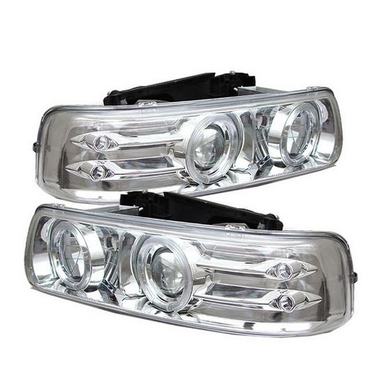 1999-2002 Chevrolet Silverado 1500 2500 3500 Suburban 1500 2500 Tahoe Chrome Housing LED Halo Angel Eyes LED Projector Headlights