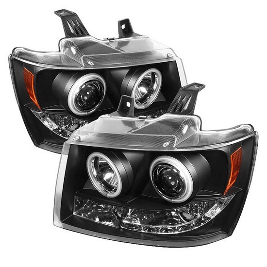 2007-2014 Chevrolet Suburban 1500 2500 Tahoe Avalanche Black Housing CCFL Halo Angel Eyes LED Projector Headlights