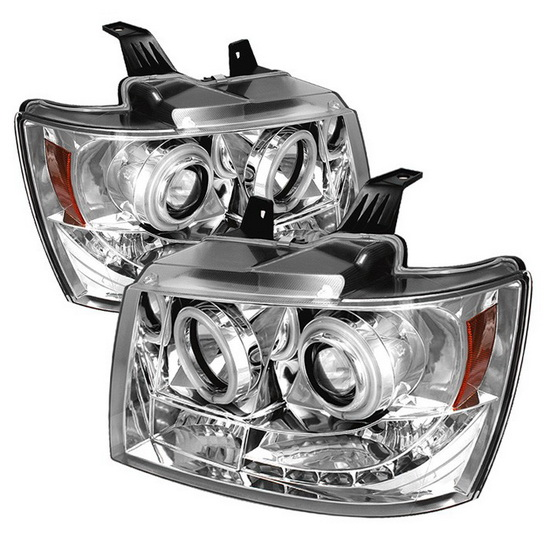 2007-2013 Chevrolet Suburban 1500 2500 Tahoe Avalanche Chrome Housing CCFL Halo Angel Eyes LED Projector Headlights
