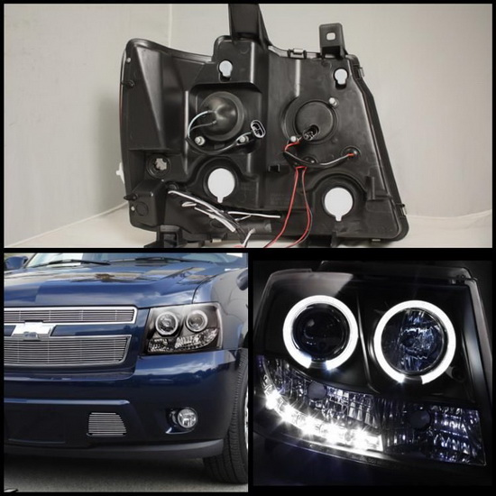 2007-2014 Chevrolet Suburban 1500 2500 Tahoe Avalanche Black Housing LED Halo Angel Eyes LED Projector Headlights