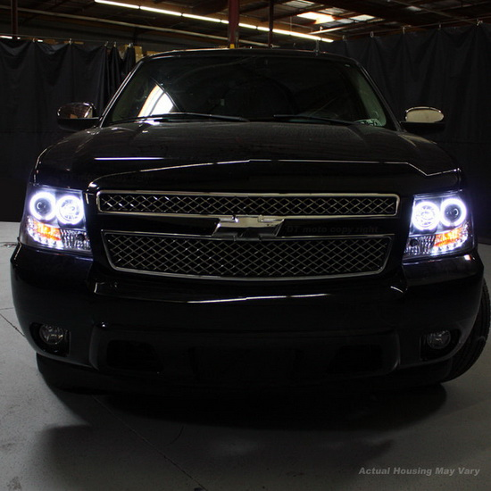 2007-2014 Chevrolet Suburban 1500 2500 Tahoe Avalanche Chrome Housing LED Halo Angel Eyes LED Projector Headlights