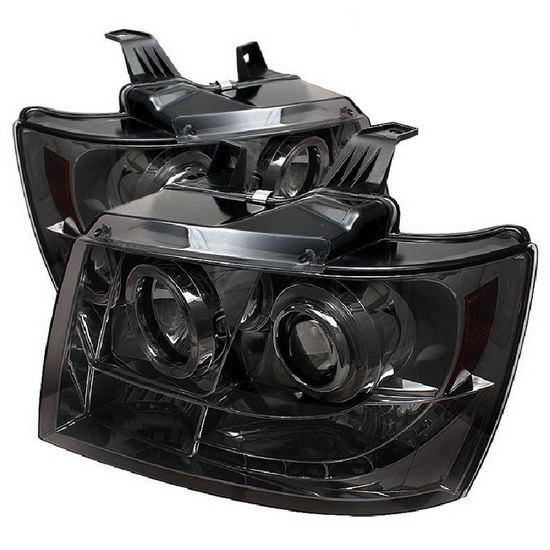 2007-2014 Chevrolet Suburban 1500 2500 Tahoe Avalanche Smoke Housing LED Halo Angel Eyes LED Projector Headlights