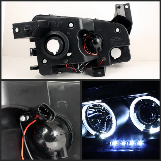 2006-2010 Dodge Charger Black Housing LED Halo Angel Eyes LED Projector Headlights