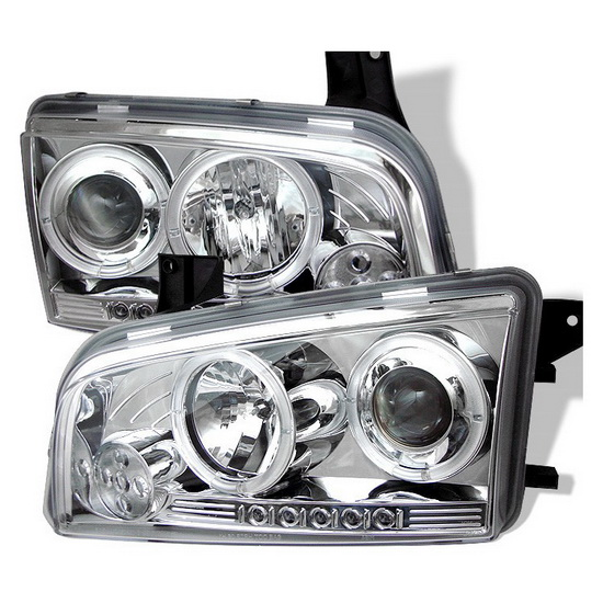 2006-2010 Dodge Charger Chrome Housing LED Halo Angel Eyes LED Projector Headlights