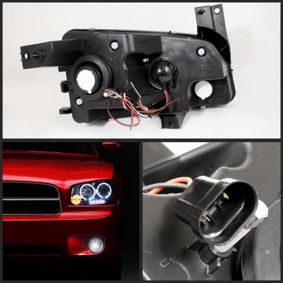 2006-2010 Dodge Charger Smoke Housing LED Halo Angel Eyes LED Projector Headlights