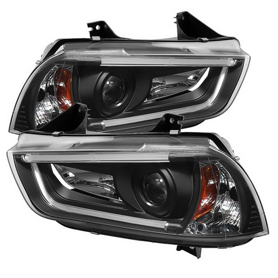 2011-2014 Dodge Charger Black Housing Projector Headlights with R8 Style LED Strip DRL
