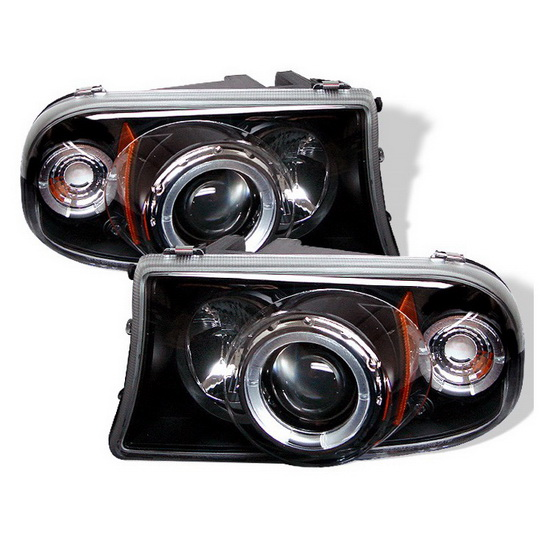 1997-2004 Dodge Dakota LED Halo Angel Eyes Black Housing 1PC Projector Headlights