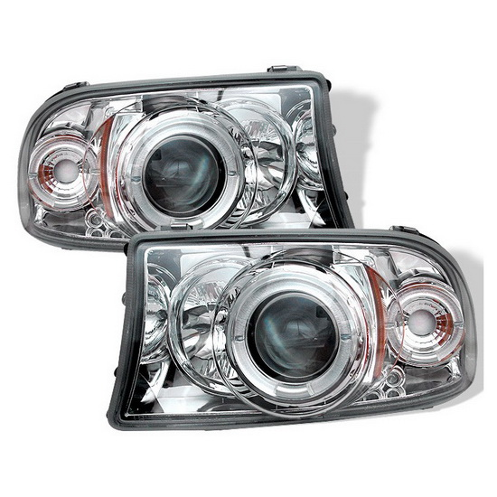 1997-2004 Dodge Dakota LED Halo Angel Eyes Chrome Housing 1PC Projector Headlights