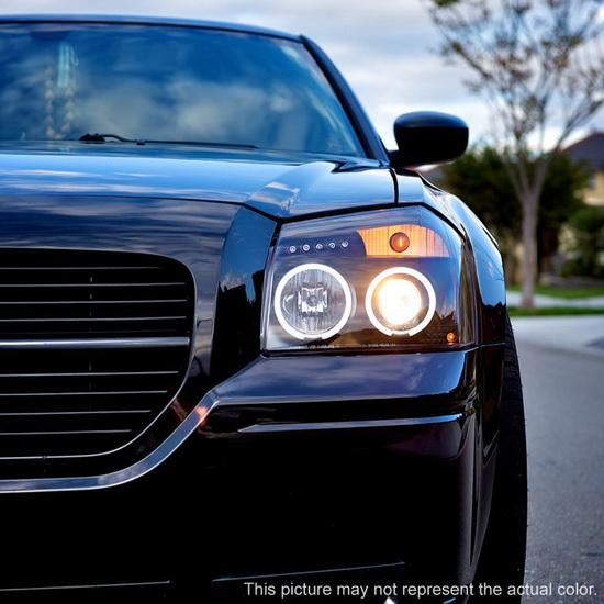 2005-2007 Dodge Magnum Smoke Housing CCFL Halo Angel Eyes LED Projector Headlights