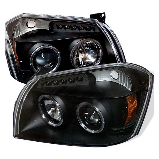 2005-2007 Dodge Magnum Black Housing LED Halo Angel Eyes LED Projector Headlights