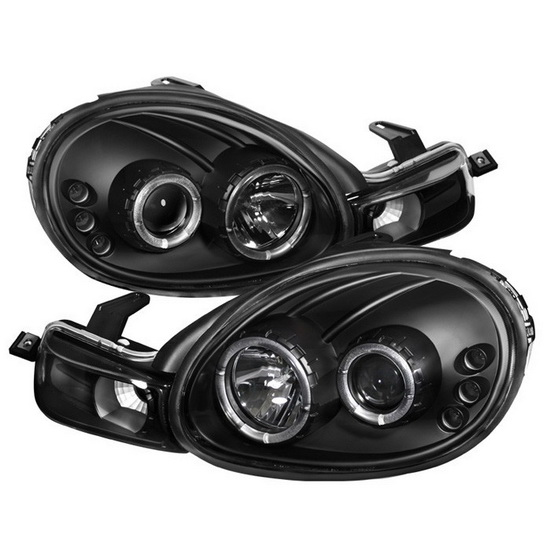 2000-2002 Dodge Neon Black Housing LED Halo Angel Eyes LED Projector Headlights