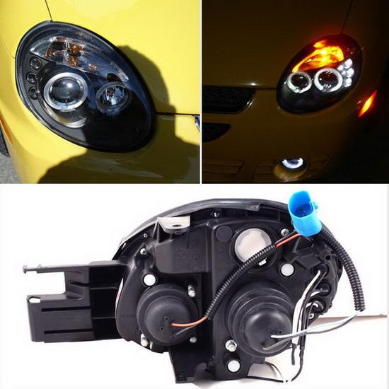 2003-2005 Dodge Neon Black Housing LED Halo Angel Eyes LED Projector Headlights