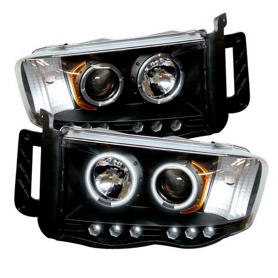 2002-2005 Dodge Ram 1500 2500 3500 Black Housing CCFL Halo Angel Eyes LED Projector Headlights