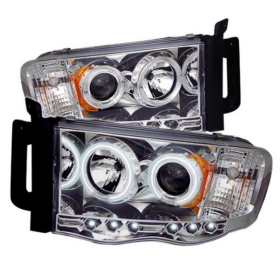 2002-2005 Dodge Ram 1500 2500 3500 Chrome Housing CCFL Halo Angel Eyes LED Projector Headlights