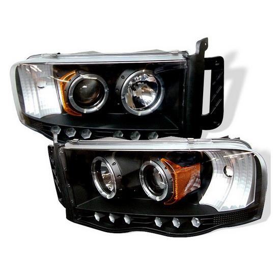 2002-2005 Dodge Ram 1500 2500 3500 Black Housing LED Halo Angel Eyes LED Projector Headlights